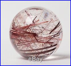 62mm Natural Clear Rutilated Crystal Ball SPHERE Quartz Specimen