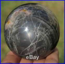 66mm 13.6OZ Natural Black Moonstone Crystal Sphere Ball