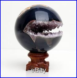 67mm NATURAL AMETHYST GEODE & AGATE SPHERE BALL REIKI withRosewood Stand BRAZIL