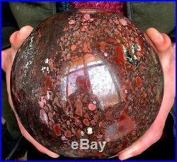 6960g Natural Tumbled Blood Stone Carved Crystal Sphere Ball Healing
