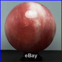 7.621.0lb Natural Rose Quartz Crystal SPHERE BALL withRosewood Stand-Madagascar