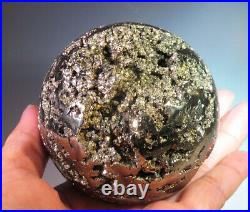 71mm (2.8) Large Nice Natural Geode Pyrite Crystal Ball Sphere from Peru 8441