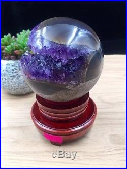 75mm Natural Amethyst Geode & Agate Sphere Ball Reiki with Stand Brazil