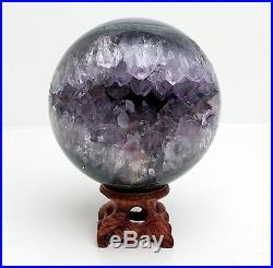 76mm NATURAL AMETHYST GEODE & AGATE SPHERE BALL REIKI withRosewood Stand BRAZIL