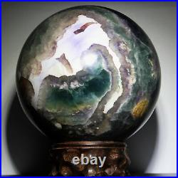 8.034.0lb Polished Green Fluorite Quartz Crystal Sphere Ball withRosewood Stand