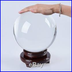 8 inch (200mm) Clear Crystal Ball including Wooden Stand Sphere Ball