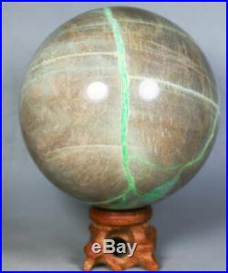 800g Amazing Natural Green Moonstones Rock Crystal sphere Ball Reiki Stone Stand
