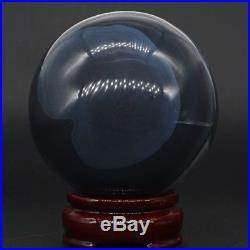 853g Natural Amethyst Geode & Agate Crystal Sphere Ball Reiki with Stand Brazil