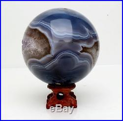 87mm NATURAL AMETHYST GEODE & AGATE SPHERE BALL REIKI withRosewood Stand BRAZIL