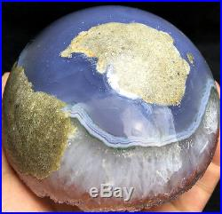 885g WOW! Natural Amethyst & Agate Crystal Open The Mouth Smile Sphere BALL