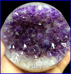 898g Natural Amethyst&Geode Agate Crystal Open The Mouth Smile Sphere BALL
