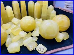 8KG Lemon Calcite tumbles, spheres / balls and towers points crystals lot