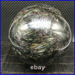 9.68LB Flash Russian Astrophylite with Garnet and Pyrite Sphere Ball U59