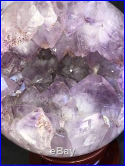 9 SPHERE BALL Amethyst Geode Quartz Crystal Cluster Cathedral with Wood Base