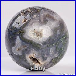903g 88mm Large Natural Moss Agate Geode Crystal Sphere Healing Ball Chakra