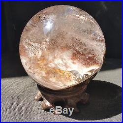 928g 87.5mm Natural Green&Red Ghost Quartz Crystal Sphere Ball Healing W1246