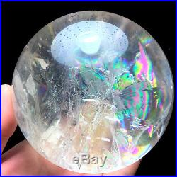98mm Rainbow NATURAL CLEAR QUARTZ CRYSTAL SPHERE BALL HEALING GEMSTON+stand