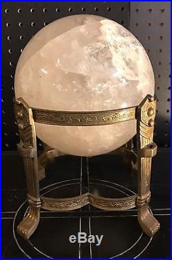 A Large Rock Crystal Sphere Ball on a Decorated Gilt Brass Base