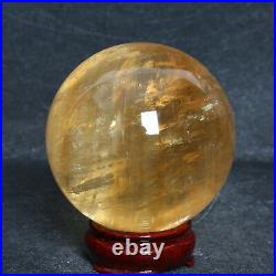 A5307-93mm-1156g YELLOW Iceland Spar OPTICAL CALCITE Crystal Sphere Ball+Stand