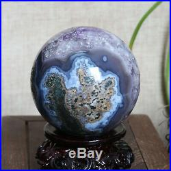 A5900-428g Natural Amethyst Geode & Agate Sphere Ball Reiki with Stand Brazil