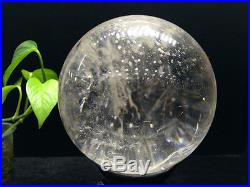 AAA++ Natural clear Quartz Rock Crystal sphere ball reiki healing-free stand