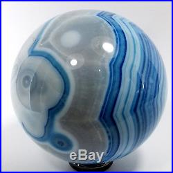 Agate Crystal Sphere (EA7208) blue dyed ball scrying gem stone reiki healing