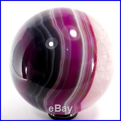 Agate Crystal Sphere (EA7213) dyed pink ball scrying gem stone reiki healing