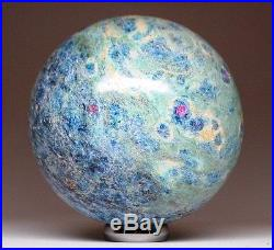 Amazing! Ruby in Fuchsite and Kyanite Crystal Sphere Ball SPH129