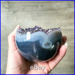 Amethyst Geode Sphere 0.724 kg Natural Crystal Ball Agate Purple Points Polished