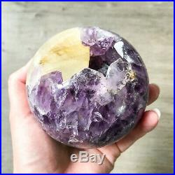 Amethyst Geode Sphere 0.912 kg Natural Crystal Ball Agate Purple Points Polished
