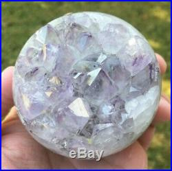 Amethyst Geode Sphere 14.2 oz (404 g) Natural Crystal Ball Agate Purple Polished