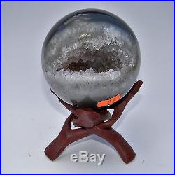 Amethyst Geode Sphere Agate Crystal Mineral Ball with Stand- 3.4