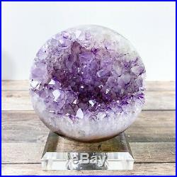Amethyst Geode Sphere Natural Crystal Ball Agate Purple Points Polished Stone