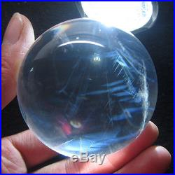 Angel's feather straight Blue rutilated natural clear quartz crystal sphere ball