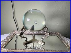 Antique-Vintage Murano Crystal Ball With Metal Dragon Brass Stand Large 8 Tall