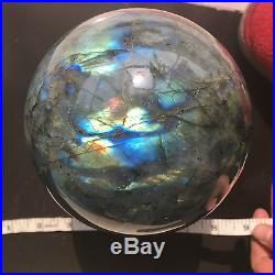BEST! TOP! 3520g NATURAL Labradorite Crystal sphere ball Orb Gem Stone 2.24-3