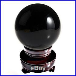 Black (Jet Black) Crystal Ball 130mm 5 Include Wooden Stand and Gift Package