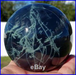 Black Obsidian Intriguing SPIDERWEB Sphere SCRYING MIRROR Crystal Ball Volcanic