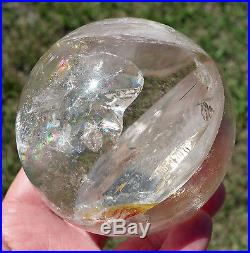 CITRINE Quartz Crystal Sphere Ball Rainbows Rutilated Foils Red Yellow Iron