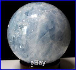 Calcite Sphere Reiki Healing Crystal Ball Baby Blue 6 1/2 MAGNIFICENT
