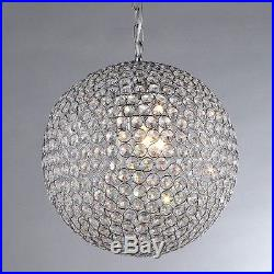 Chandelier 4-Light Chrome Crystal Contemporary Ball Round Sphere Large Room Feat