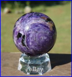 Charoite Sphere / Rich Purple Crystal Ball with Stand