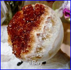 Citrine Sphere Crystal Geode Ball Large 3.5 19cms 970g Stunning and Very Rare
