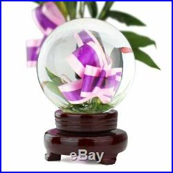 Crystal Ball With Wooden Stand 8 Inch (200mm) Clear Fortune Telling Figurine