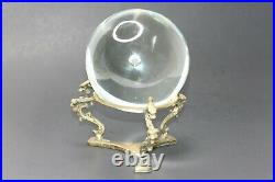 Crystal Ball on Dragon Stand Brass Base Suspended Bubble Clear Glass 5 Vintage