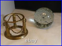 Crystal Ball on Stand Brass Base Suspended Bubble'S Clear Glass 4 Vintage BALL