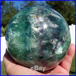 DEEP GEM Colors FLUORITE Crystal Ball Big Sphere Healing Rainbows with BARITE