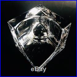 Daum France Modernist Geometric Signed Glass Sculpture with Sphere/ Orb