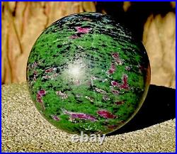 EXTRA LARGE 1LB WEIGHT RUBY GREEN Crystal Ball Sphere 70mm / 485 Grams