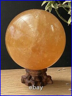 Extra Large Over 2LB In Weight Natural Rare Citrine Calcite Crystal Ball Sphere